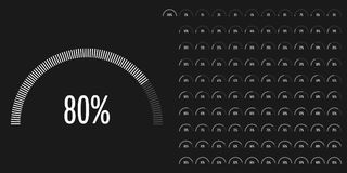 Set of semicircle percentage diagrams from 0 to 100. Ready-to-use for web design, user interface UI or infographic - indicator with white Stock Illustration