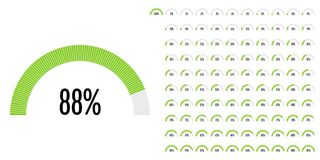 Set of semicircle percentage diagrams from 0 to 100. Ready-to-use for web design, user interface UI or infographic - indicator with green Vector Illustration