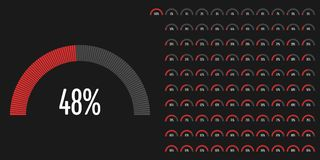 Set of semicircle percentage diagrams from 0 to 100. Ready-to-use for web design, user interface UI or infographic - indicator with red Royalty Free Illustration
