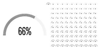 Set of semicircle percentage diagrams from 0 to 100. Ready-to-use for web design, user interface UI or infographic - indicator with black Royalty Free Illustration