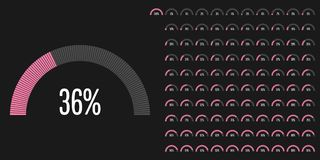 Set of semicircle percentage diagrams from 0 to 100. Ready-to-use for web design, user interface UI or infographic - indicator with pink Vector Illustration