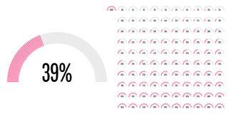 Set of semicircle percentage diagrams from 0 to 100. Ready-to-use for web design, user interface UI or infographic - indicator with pink Stock Illustration