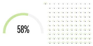Set of semicircle percentage diagrams from 0 to 100. Ready-to-use for web design, user interface UI or infographic - indicator with green Stock Illustration