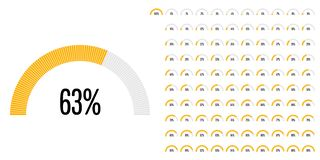 Set of semicircle percentage diagrams from 0 to 100. Ready-to-use for web design, user interface UI or infographic - indicator with yellow Royalty Free Illustration