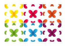 Set of semless patterns with butterflies. Over white background stock illustration