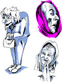 Set of Senior Female Faces. Black and white vector illustrations Stock Photos