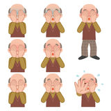 Set of senior man covering the face Stock Images