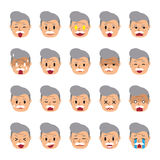 Set of a senior man faces showing different emotions. For design Stock Photo