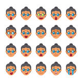 Set of a senior woman faces showing different emotions. For design Royalty Free Stock Images