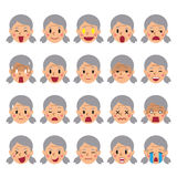 Set of a senior woman faces showing different emotions. For design Royalty Free Stock Photos