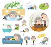 Green shirt old women_relax royalty free illustration