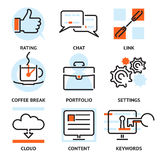 Set of SEO contour icons. Set of vector SEO contour icons depicting rating  char  link  coffee break  portfolio  settings  cloud  content and keywords for Royalty Free Stock Photo