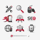 Set of seo icons. Containing: search engine optimization symbols, Internet marketing strategy signs, buttons, mobile, web elements for website templates, flat Stock Photos