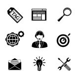 Set of SEO icons - target with arrow, tag, world Stock Photo