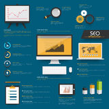 Set of SEO Infographic elements for business. Royalty Free Stock Photo