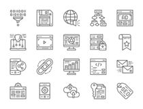 Set of SEO and Marketing Line Icons. Hosting, Bookmark, Hyperlink and more. stock illustration
