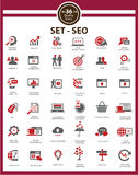 Set Of SEO and Modern Website Icons. Red version,vector Stock Image