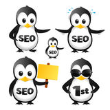 Set Of SEO Penguin Mascots. Penguin mascot characters on a white background, suitable for SEO ( Search Engine Optimization ) business related materials Stock Photo