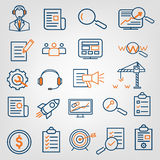 Set of SEO search engine optimization analytics, call center support, web site development icons. Flat line design, vector signs Royalty Free Stock Photo