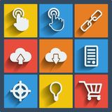 Set of 9 seo web and mobile icons. Vector. Stock Images