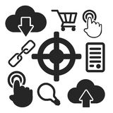 Set of seo web and mobile icons. Vector. Royalty Free Stock Images