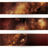 Set of sepia tone bokeh banners. Vector header, banner set. Overlying semitransparent circular shapes forming a bokeh background with space for your text. Can be Royalty Free Stock Photography