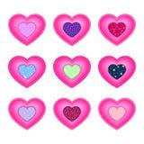Set serca dla walentynka dnia Tkanin wszywki z wzorami ilustracji
