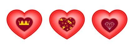 Set serca dla walentynki ` s dnia Wszywki w postaci korony, diamentu i wzoru elementy, ilustracja wektor