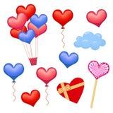 Set serca i sercowaci dekoracja elementy Zdjęcie Royalty Free