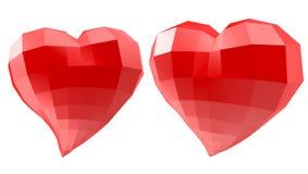Set serca z faceted poli- geometria skutkiem Obrazy Stock