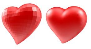 Set serca z faceted poli- geometria skutkiem Zdjęcie Stock
