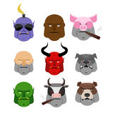 Set Serious head. Evil muzzles of animals and people. Terrible h Royalty Free Stock Photography
