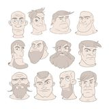 Set of serious man faces with different expressions. Vector illustration in cartoon style. royalty free illustration