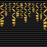 Set of serpentine ribbons, isolated on background. Streamers confetti . Vector Illustration of golden decoration. Falling light de Stock Photo