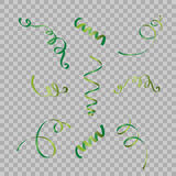 Set of serpentine ribbons, isolated on background. Streamers confetti . Vector Illustration of green decoration. Falling light dec Stock Photos