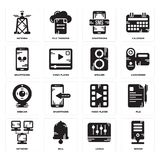 Set of Server, Levels, Network, Video player, Webcam, Speaker, Smartphone, Antenna icons. Set Of 16 simple  icons such as Server, Levels, Bell, Network, File Royalty Free Stock Photo