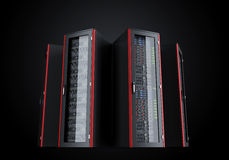 Set of server racks isolated on black background Royalty Free Stock Images