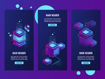 Set of server room and digital technology banners, server room, database and data center icons, cloud storage. Dark neon isometric vector Royalty Free Stock Image