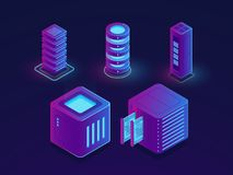 Set of server room icons, data center and database, futuristic data prcessing, cloud storage. Isometric vector dark ultra violet neon Royalty Free Stock Images