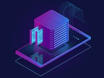 Set of server room icons, data center and database, futuristic data prcessing, cloud storage Stock Illustration