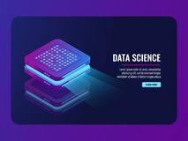 Set of server room icons, data center and database, futuristic data prcessing, cloud storage. Isometric vector dark ultra violet neon Stock Photos