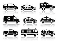 Set of service automobiles black icons. With reflection, vector illustrations Royalty Free Stock Images
