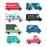 Set service bus. Set of the various cars icons. Fire, ambulance, police, mail bus and different cargo delivery trucks. Vehicles  on white background. Vector Royalty Free Stock Images