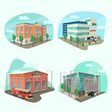 Set of service department or building. Of police, post office, firehouse, clinic or hospital. Structure isometric exterior view. Architecture and cityscape Stock Image