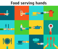 Set with serving food hands. Colored Icons Set with serving food hands Royalty Free Stock Photos