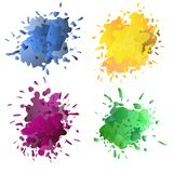 Set of set of colorful ink splashes, ink blots. Splatter collection. Colored ink or paint paint splashes . Paint splash or splat, splattered ink, dirty blots Vector Illustration