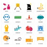 Set of set top box, live support, christmas bulb, folded hands, hospitality, bag chips, advisor icons. Set Of 16 simple  icons such as set top box, page turn Royalty Free Stock Photo