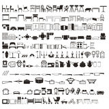 Set 2 setek gospodarstwa domowego elementów stoły, łóżka, kitchenware, etc, sylwetki piękny wektor Zdjęcia Stock