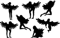 Set of Seven Angel Silhouettes Stock Images