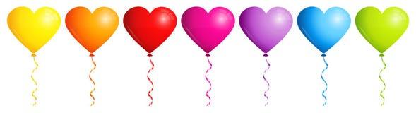 Set Of Seven Ballons Hearts Rainbow Color vector illustration